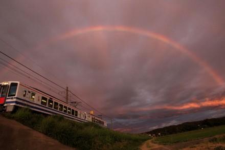 ほくほく線と虹 (2)