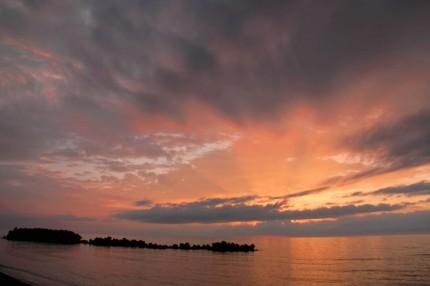 雁子浜の夕暮れ