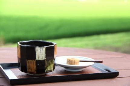 デッキで抹茶