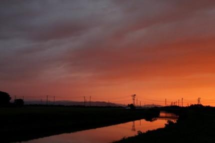 潟川の夕焼け