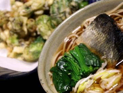 にしんソバとフキノトウ天ぷら