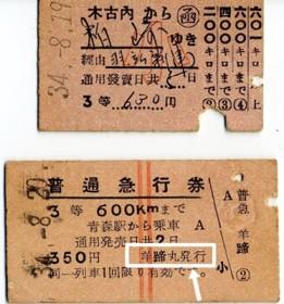 切符と急行券