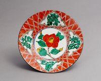 色絵椿文皿
