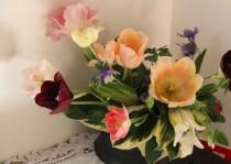 カフェ入り口の花
