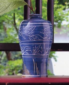 呉須搔落牡丹文瓶