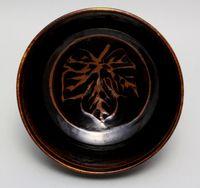 鉄絵葉文鉢