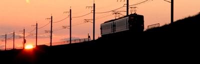夕陽と電車